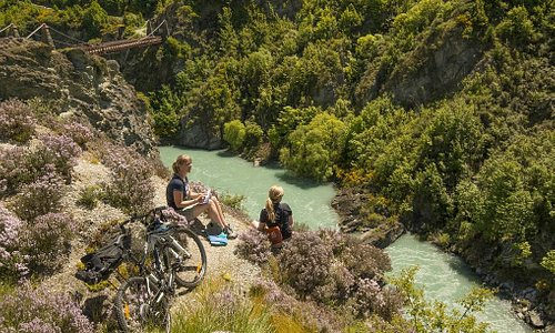 Enjoying the views over the Kawarau River on the Queenstown Trail