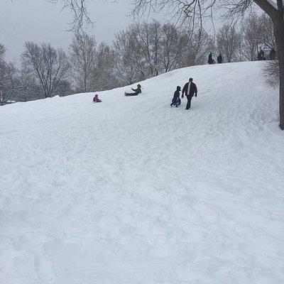The sledding hill at Centennial Park.