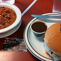 Steak burger and chili