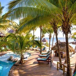 Heated outdoor pool overlooking Caribbean Sea