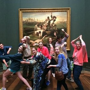 Guests recreating a painting on an awesome Museum Hack tour