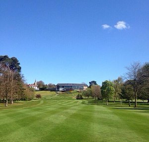 Looking towards the 10th tee with club house in background