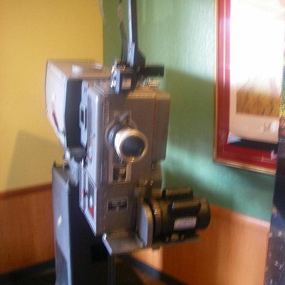 The old movie projector on display.