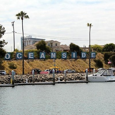 The famous Oceanside sign at the harbor
