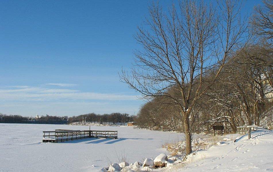 Winter of Ward Park w/ floating dock