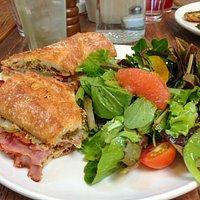 Ham & Camembert sandwich with side salad