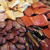 Variety of smoked fish