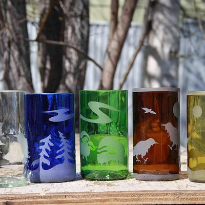Old Town Glassworks is famous for its recycled bottle glasses with original northern designs. Th