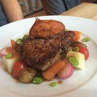 rump steak - beautifully cooked