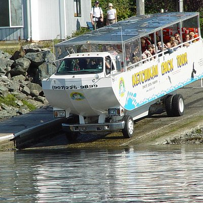 The Ketchikan Duck Tour driving right down into the water!