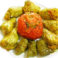 Zucchini flowers, wine leaves and tomatoes stuffed with rice and herbs !!!