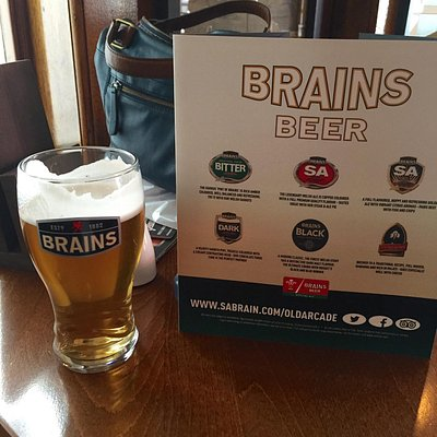 Brains beers served at the Old Arcade - excellent