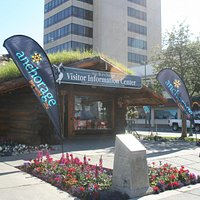 Front of Anchorage Log Cabin Visitor Center