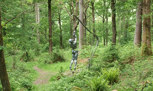 Spooky sculpture in the forest