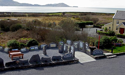 Waterville Heritage Gallery with spectacular backdrop of Ballinskelligs Bay on the Ring of Kerry