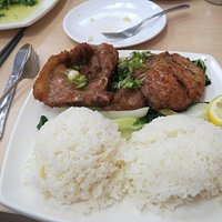 Pork Chops, steamed rice and Bok Choy