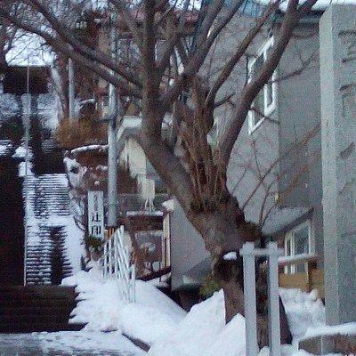 冬場は厳しい急階段。