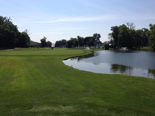 13th fairway.  Water all the way to just short of the green on the right.
