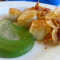 Seared Scallops with pea puree and fingerling potato and pancetta chips