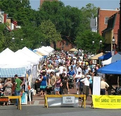 Vendor tents along West Street in Annapolis at First Sunday Arts Festival