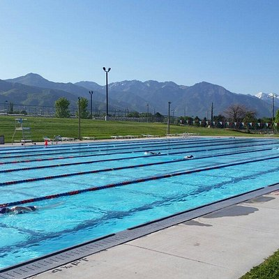 50 meter outdoor pool with stunning view of mountains