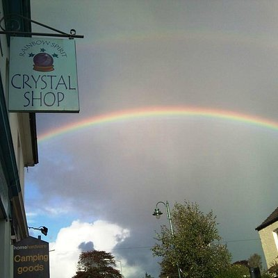 A rainbow captured outside the shop.