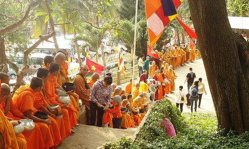 Some of the visiting monks at Thich Ca Phat Dai Temple.