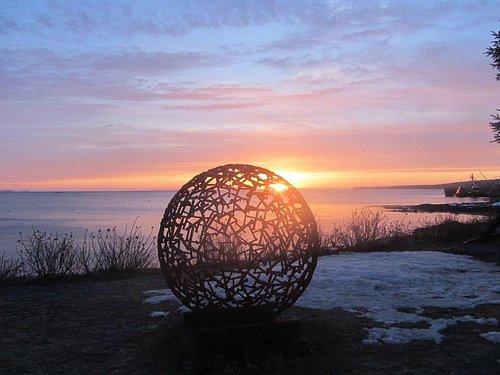 Art piece overlooking Sandy Beach