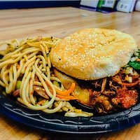 Food Truck Kalua Pig Sadwich with Edamame Pasta Salad