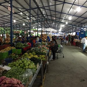 Marche aux fruits & légumes des producteurs locaux avec une allée d'artisanat local. Les fruits