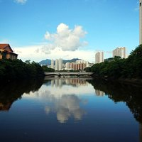 Sha Tin River - HK Heritage Museum on the left side