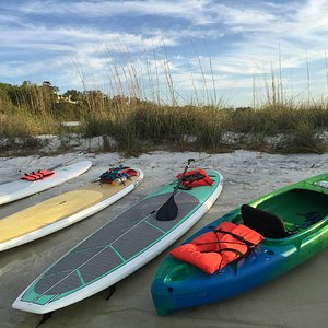 Paddleboards and Kayaks on Deadman's Island