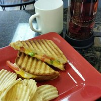 Double grilled cheese sandwich & tea