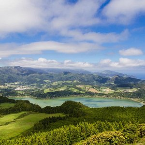 Furnas Lake from the top of Castelo Branco