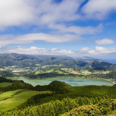 Furnas Lake from the top of Castelo Branco