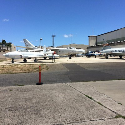 Outside of the Aviation Museum between both Hangars!