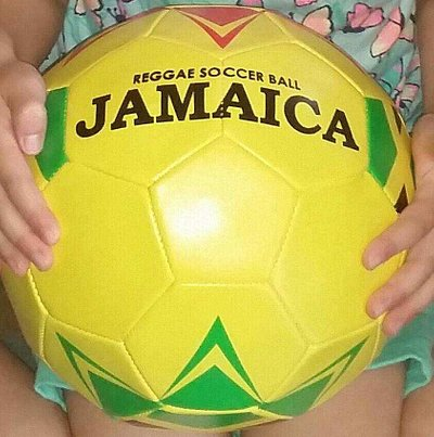 All four grandkid's loved their new Jamaican soccer balls from Jamrock!!