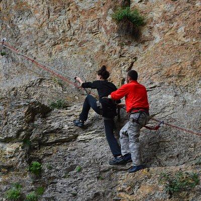 """""""Via Ferrata"""" climbing up to the Haramiyska cave"""