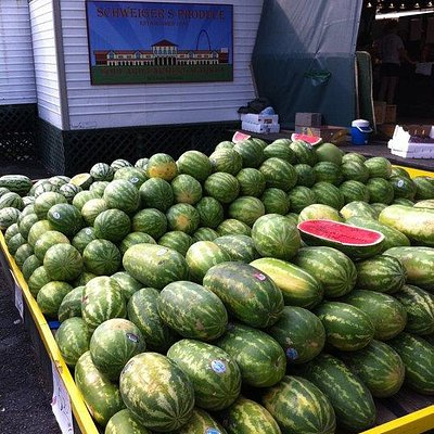 Our usual watermelon pile that we have during the summer.
