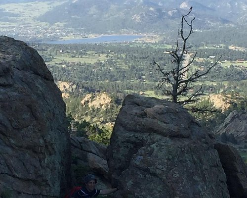 about 2/3 the way up and we have a nice view of estes lake