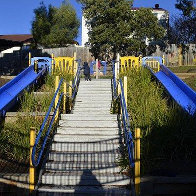 2 blue slides