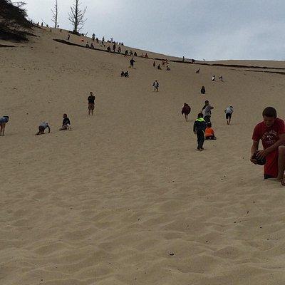 Huge sand dune hill to climb