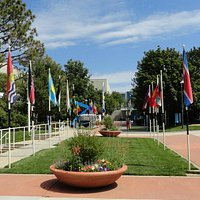 The grounds have flags from every country which has ever competed.