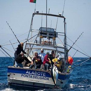 220 pounds Bigeye tuna coming inside