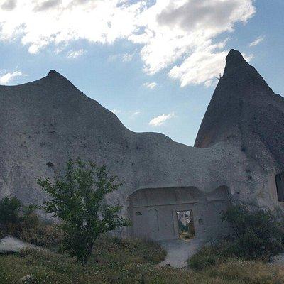 Roadsign to Sakli Kilise  (hidden church); and the 'church' itself.