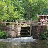 The Charles F. Mercer riding the lock down to the next level of the C&O canal