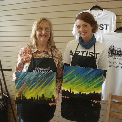 I'm proud of my first painting! Here I am with my extraordinary instructor who led me step by st