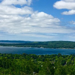 View of Lake Charlevoix from the peak of Avalanche Preserve
