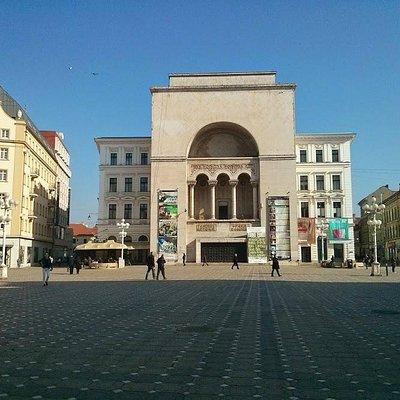 Piata Victoriei, no centro histórico de Timisoara