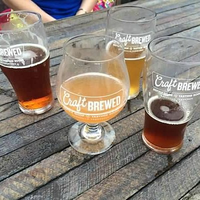 On Patio outside Craft Brewed - our 4 choices!
